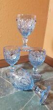 "4 Fostoria FOS3 Light Blue Wine Glasses Goblets  5 1/8"""