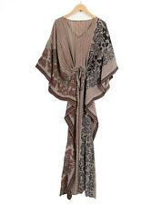 WOMENS LADIES KAFTAN LONG DRESS VINTAGE SILK SARI DRESS GREY FLORAL KIMONO INDIA