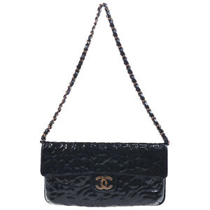 CHANEL Camellia CC Chain Hand Bag Pouch Purse Black Patent Leather 8673414 72563