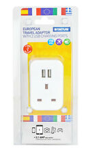 European Travel Adaptor With 2 USB Charging Ports 7.5Amp EU 2 Pin Plug