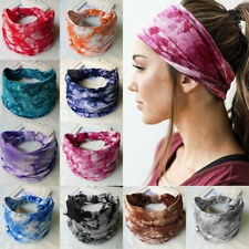 Women Colorful Tie Dye Cotton Headband Elastic Bandana Turban Yoga Hair Band