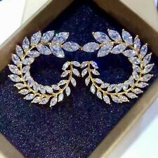 14k Yellow Gold Over Cuff Stud Earrings made w/ Clear VVS1 Trendy For Her Gifts