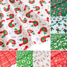 Christmas Fabric Red Blue FAT QUARTERS Bundle Polycotton Remnants