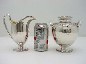 Coin Silver Cream n Sugar wth Lid Gold Wash Ball & Black Eoff & Sheppard c1850