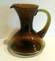 "Vintage Flint Craft 8.5"" Green Amber Brown Greenwich Hand Blown Glass Pitcher"