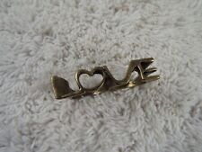Brasstone LOVE Two Finger Ring ~ Size 5.5/6  (C33)