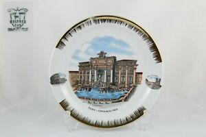 Plato decorativo de porcelana Welther maxima, Fuente de Trevi, Roma.