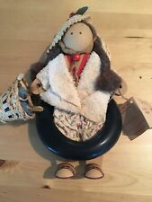 1989 Lizzie High Emmy Lou Wooden Doll Loves Seashore W/Straw Hat Inner Tube Bag
