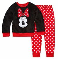 Disney Girls Minnie Mouse Pajama Set 2 piece Black Red size 4 NEW