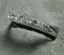 Silver Tone Fashion Band Cocktail Ring with Purple and Clear Stones - Size 8.5