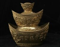 Collectible Folk Fengshui Brass Carved Dragon Phoenix Ingot Bring Wealthy Statue