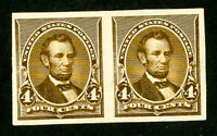 US Stamps # 222p5 Superb OG LH Pair Scott Value $210.00