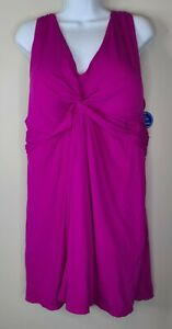 Swimsuits For All Swim Dress Plus Size 28 fuschia pink purple twist knot new!