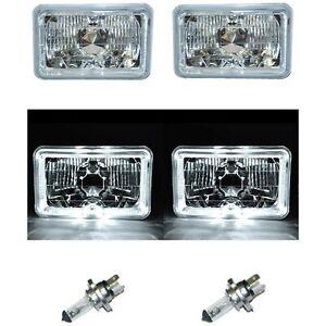"4X6"" White LED Halo Angel Eye Halogen H4 Headlight Crystal Clear Headlamp Bulbs"
