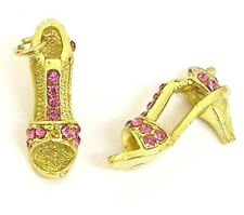 4 Gold Plated Rhinestone 9X24X13mm Shoe Charms