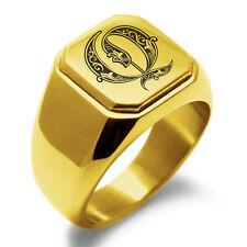 Stainless Steel Monogram Royal Initial Q Mens Square Biker Style Signet Ring