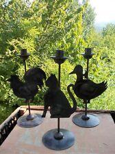 Chat canard coq bougeoirs métal décoration