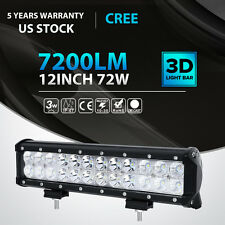 12INCH 72W CREE LED Work Light Bar Spot Flood Combo Offroad Pickup Van ATV 12V
