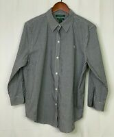 Ralph Lauren Women's Button Up Black White Gingham Check Non-Iron Blouse XL