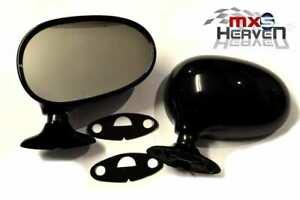 "Mazda MX5 MK1 Door Mirrors Manual Brilliant Black (PZ) - Pair 1989>98 ""New"""