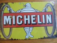 VINTAGE METAL ADVERTISING SIGN SMOKING MICHELIN MAN GARAGE MANCAVE WALL PLAQUE