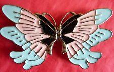Butterfly Buckle 80'r style silver metal blue pink black enamel dress trimmings
