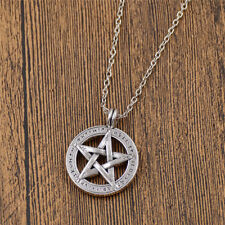 Men Hollow Pentagram Pendant Necklace Silver Chain Statement Jewelry Vintage
