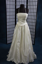 Prom Pageant Bridesmaid Alfred Angelo Strapless Sparlke Satin Pale Yellow Sz 8