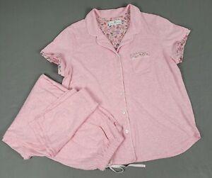 Large KAREN NEUBURGER Pajama Set  Pink Elastic Waist Cotton Blend EUC