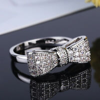 Women 925 Silver White Sapphire Bow Ring Wedding Engagement Jewelry #6/7/8/9/10