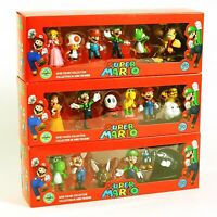 Action Figure Toys  Super Mario Bros Peach Daisy Toad Mario Luigi  Dolls 6 Pcs