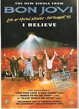 "BON JOVI I Believe 1993 UK magazine ADVERT / mini Poster 11 x 8"""