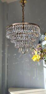 💖 Pretty Vintage 4 tier Brass & Lead Crystal Waterfall Chandelier Light  💖