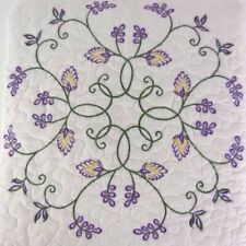 Allysa 3PC Queen Quilt set embroidery floral purple ivory shams New