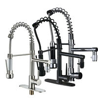 Commercial Swivel Kitchen Sink Faucet Pull Down Sprayer Single Hole Mixer Tap