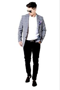 Mens Blazer Slim Fit Grey Prince of Wales Check Summer Party