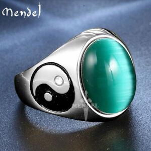 MENDEL Mens Stainless Steel Yin Ying Yang Cat Eye Green Stone Ring Men Size 7-15