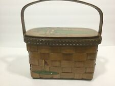 Vintage 70's Caro Nan Signed Wood Basket Weave Box Purse Tote Hand Painted Golf