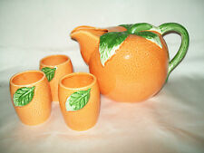 VINTAGE ORANGE SHAPED PITCHER TUMBLER SET