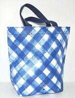 BATH & BODY WORKS GINGHAM BLUE & WHITE PLAID SMALL BAG PURSE TOTE CANVAS NEW