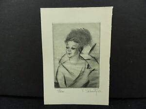 Theresa Schmotzer Drypoint Etching 1935 Cleveland Print Makers One of 250 Signed