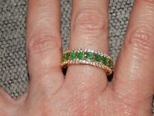 ZAMBIAN EMERALD & NATURAL WHITE CAMBODIAN ZIRCON RING-SIZE R-2.500CTS-WITH 14K