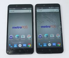 """Lot of 2 Working Cracked ZTE Zmax Pro Z981 6"""" 32GB Android Smartphones"""