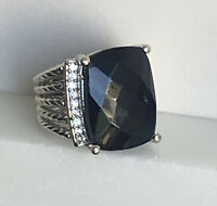Designer Inspired 20 x 15mm Wheaton Ring with Natural Black Onyx and Diamonds