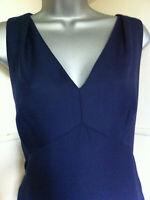 LK BENNETTnavy wool mix sleeveless V neck elegant tailored dress fully lined 12