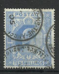 1902/10 Sg 265, 10/- Ultramarine, De La Rue printing, Good to fine used.