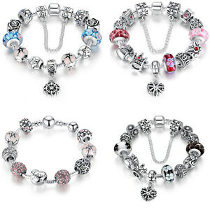 Variety European 925 Silver Charms Bracelet with CZ beads For Christmas Jewelry