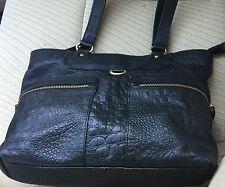 BLACK LEATHER Embossed crocodile/reptile GREAT AMERICAN LEATHERWORK Handbag