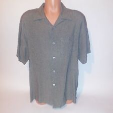 Bachrach Mens Button Down Shirt Large Black Ivory Dress Short Sleeve