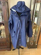 Ladies Blue Long Hooded Rain Coat From Primark Size 18-20